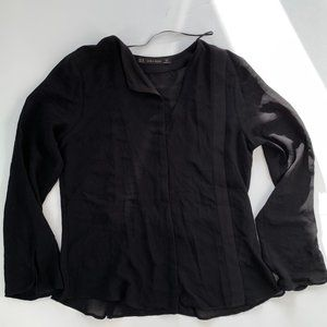Zara Long Sleeves Blouse Top Black XS